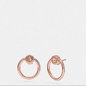 🆕 Coach Open Circle Halo Stud Rosegold Earrings.